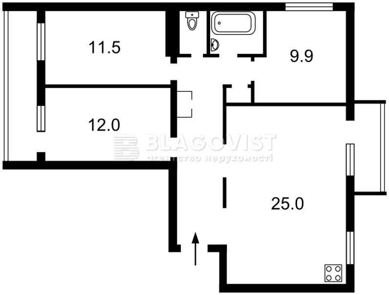 Квартира A-108991, Голосіївський проспект (40-річчя Жовтня просп.), 25, Київ - Фото 3