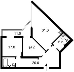 Квартира Коновальца Евгения (Щорса), 44а, Киев, Z-535804 - Фото2