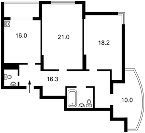 Квартира Максимовича Михаила (Трутенко Онуфрия), 3д, Киев, Z-720875 - Фото2