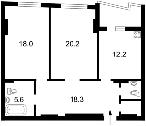 Квартира Эрнста, 16а, Киев, Z-322624 - Фото2