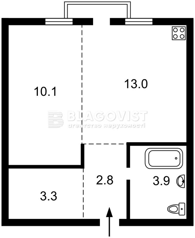 Квартира A-111613, Яремчука, 13а, Святопетровское (Петровское) - Фото 3