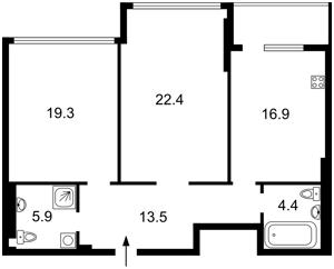 Квартира Драгомирова Михаила, 3, Киев, Z-740245 - Фото2