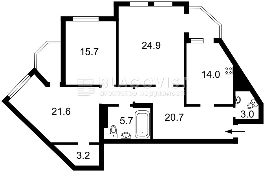 Квартира A-112046, Сверстюка Евгения (Расковой Марины), 52в, Киев - Фото 3