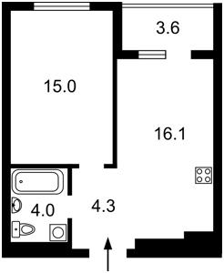Квартира Семьи Кульженко (Дегтяренко Петра), 1 корпус 22, Киев, H-49716 - Фото2