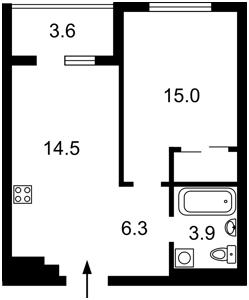 Квартира Семьи Кульженко (Дегтяренко Петра), 1 корпус 22, Киев, H-49719 - Фото2
