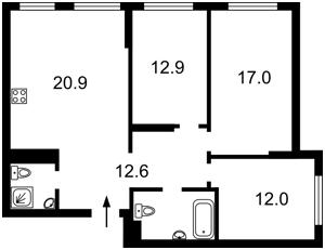 Квартира Сверстюка Євгена (Раскової Марини), 6в, Київ, Z-652874 - Фото2