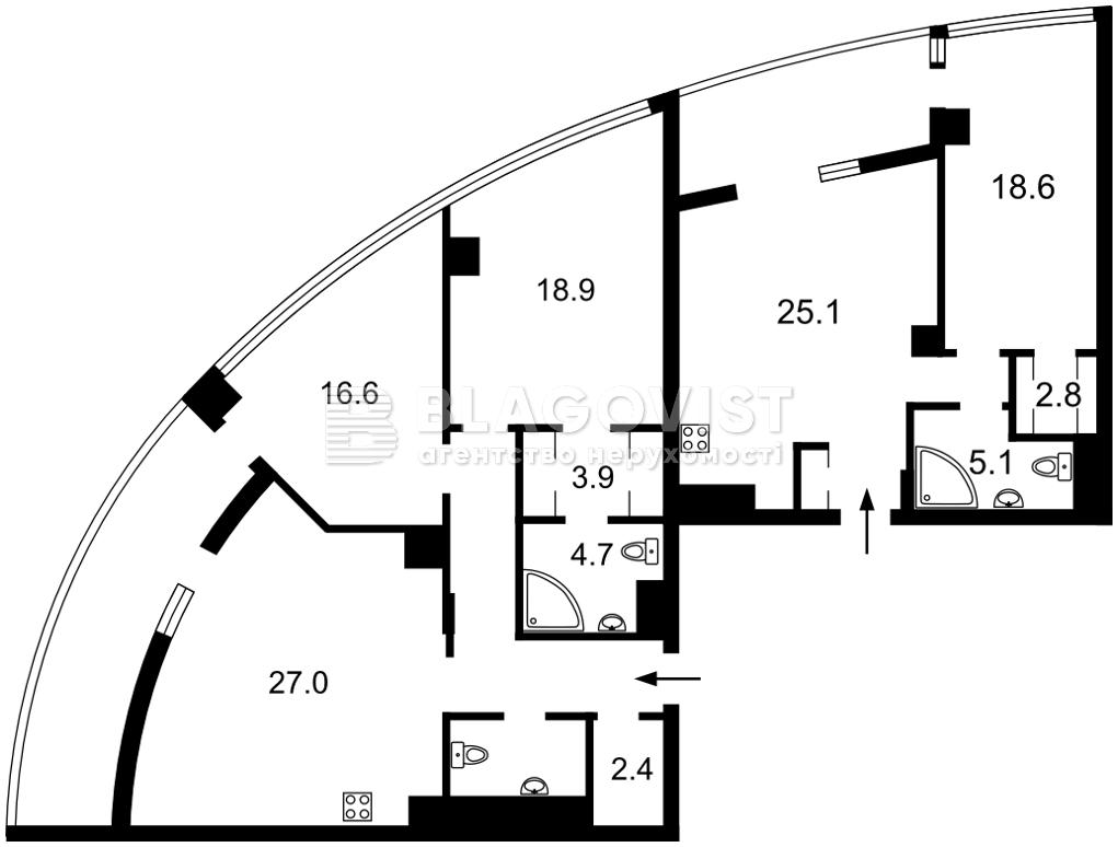 Квартира P-30061, Иоанна Павла II (Лумумбы Патриса), 12 корпус 1, Киев - Фото 3
