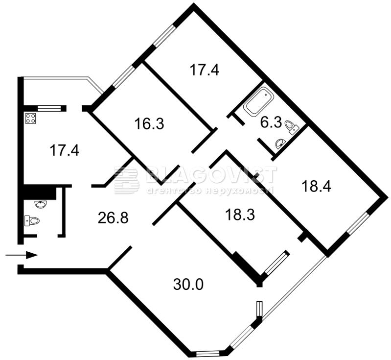 Квартира Z-559689, Никольско-Слободская, 4г, Киев - Фото 4