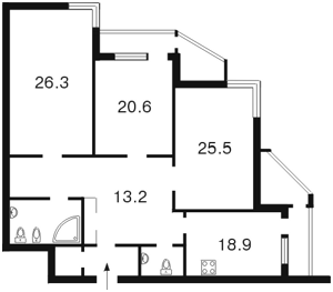 Квартира Коновальца Евгения (Щорса), 32б, Киев, Z-615030 - Фото2