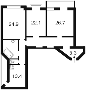 Квартира Хмельницького Богдана, 32, Київ, J-14311 - Фото2