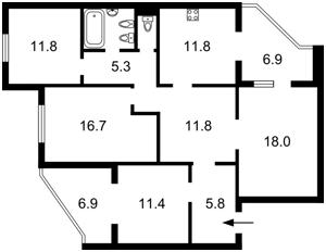 Квартира Эрнста, 8, Киев, F-36757 - Фото2