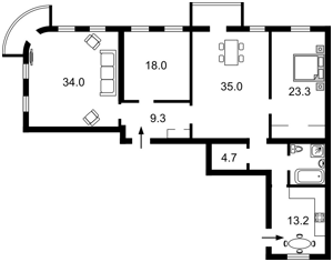 Квартира Хмельницкого Богдана, 33/34, Киев, R-9369 - Фото2